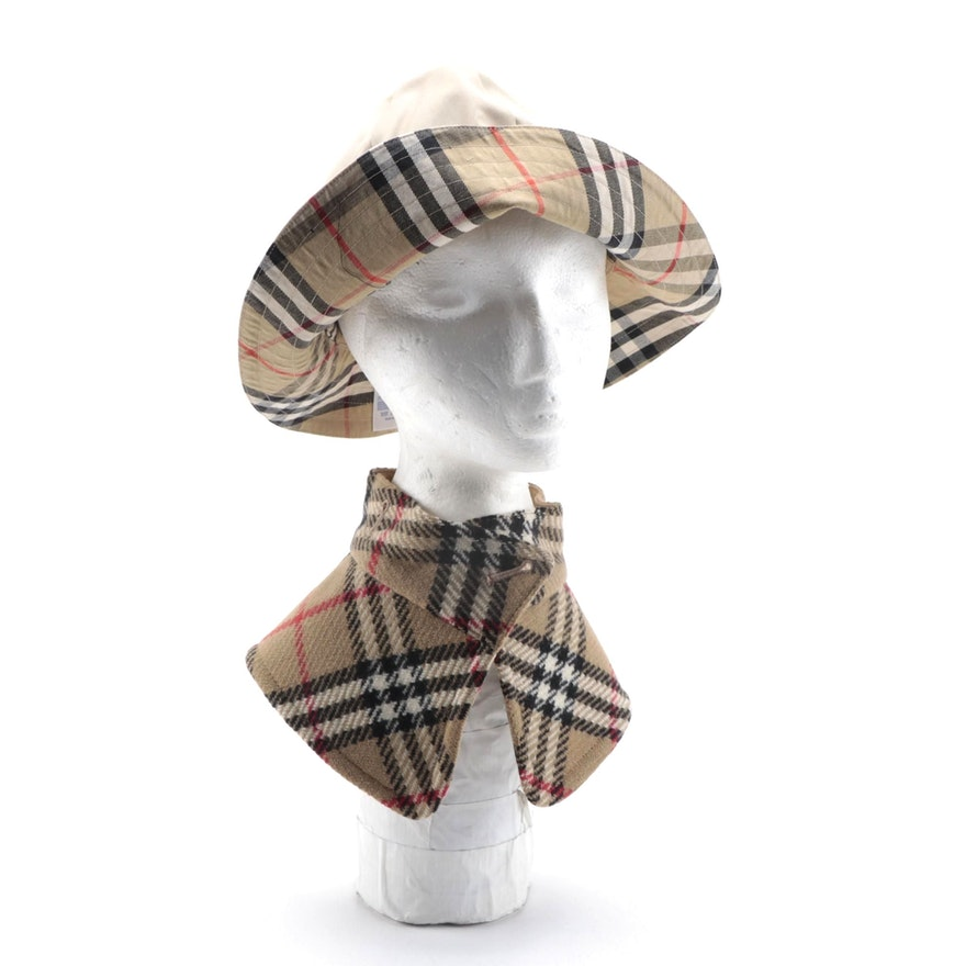 "Burberry Khaki Bucket Hat and ""Nova Check"" Removable Collar"