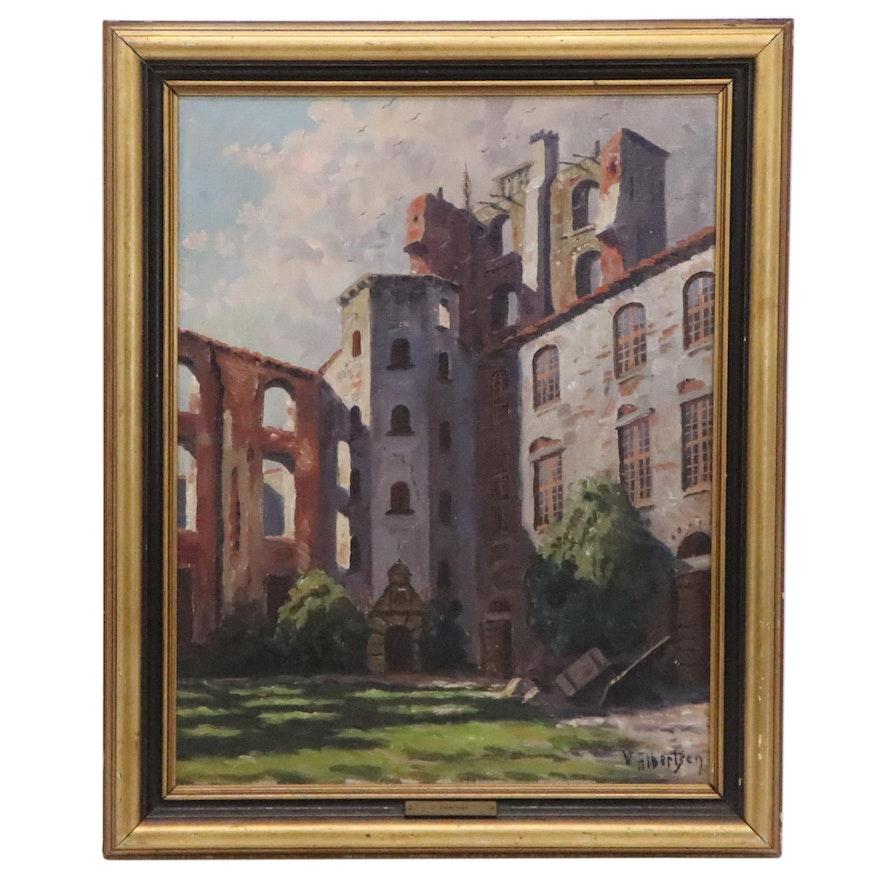 Valdemar Albertsen Oil Painting of European Architecture, Early 20th Century