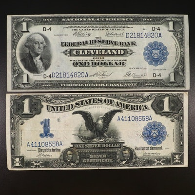 Large Format 1899 Silver Certificate and 1914 $1 Federal Reserve Bank Note