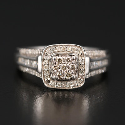 Sterling Silver Diamond Halo Ring