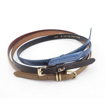 Coach Grained Leather Belt, Sheka Blue Snakeskin Belt, and Pappagallo Brown Belt