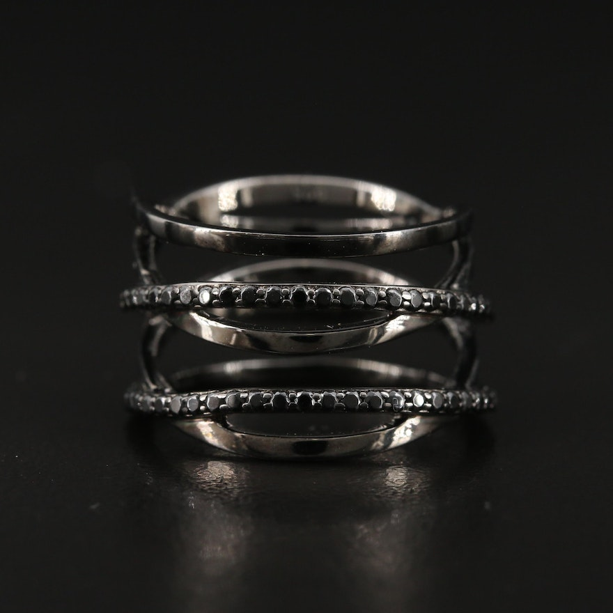 Sterling Silver Cubic Zirconia Crossover Band