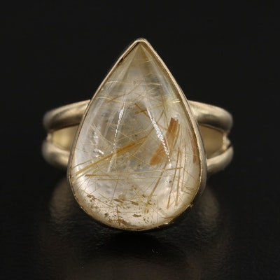 Sterling Silver Quartz Teardrop Ring