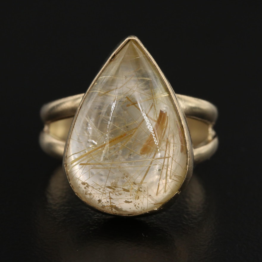 Sterling Silver Quartz Teardrop Ring