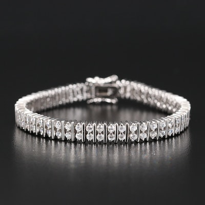 Sterling Cubic Zirconia Double Row Bracelet