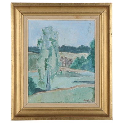 Oil Painting of Abstract Landscape, Mid-20th Century