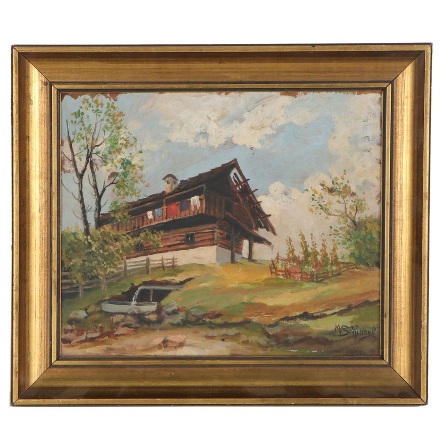 M. Schinzel Oil Painting of Cabin, 1942