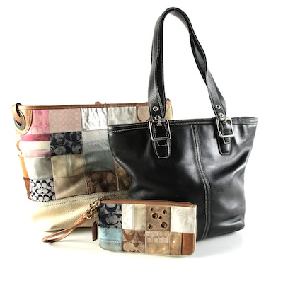 Coach Patchwork Shoulder Bag and Wristlet with Black Leather Tote