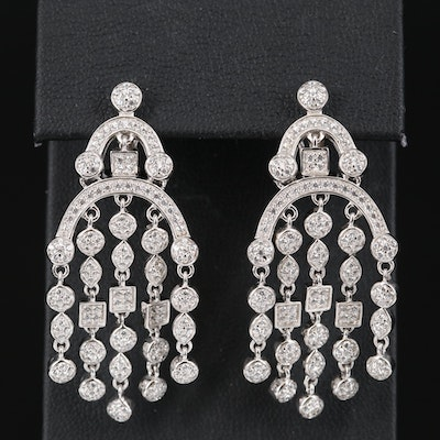 Sterling Silver Cubic Zirconia Chandelier Earrings