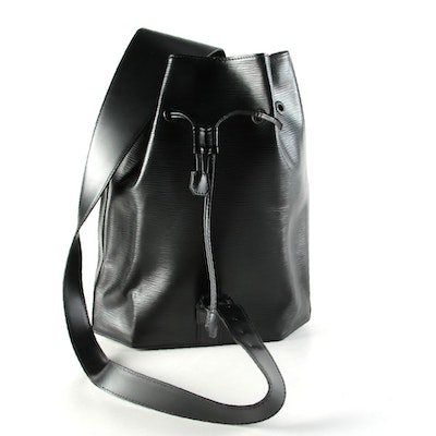 Louis Vuitton Sac a Dos Drawstring Sling Bag in Black Epi and Smooth Leather