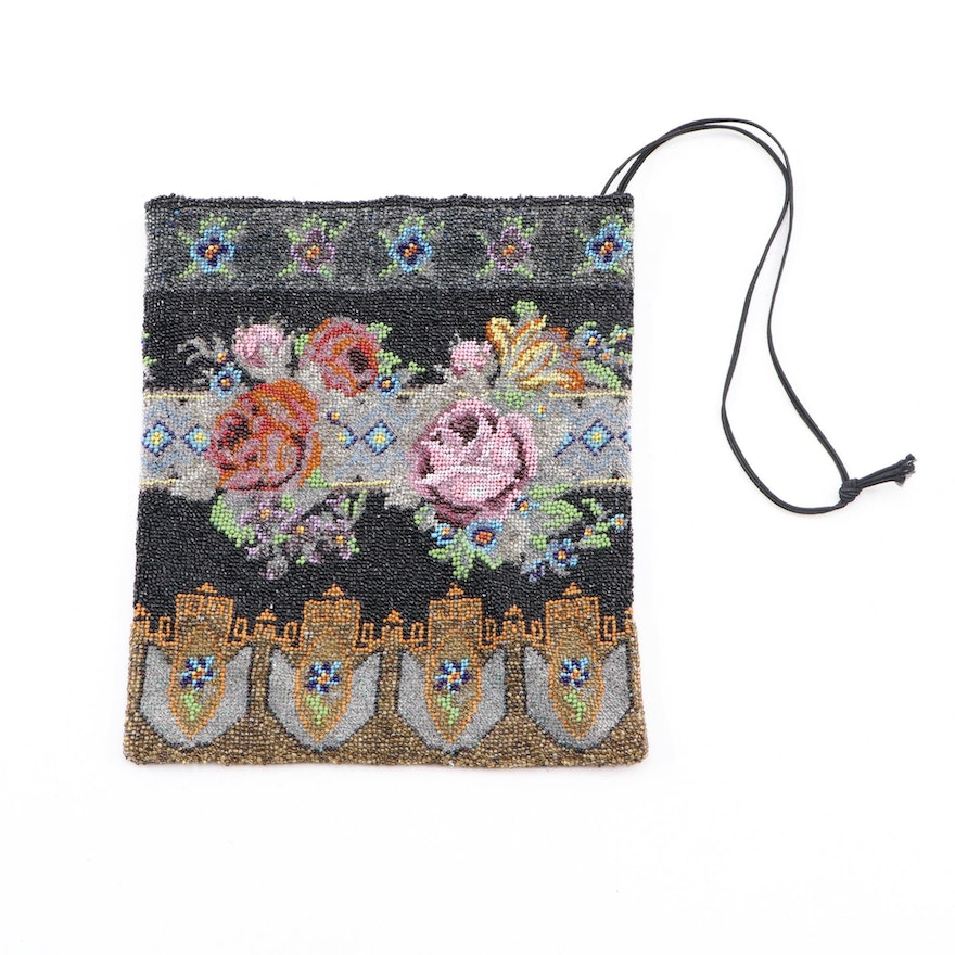 Hand-Beaded Purse in Multicolor with Florals and Adjustable Strap