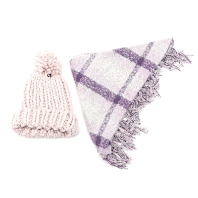 Marcus Adler Blush Pompom Beanie and Charter Club Pale Lilac Fringed Wrap