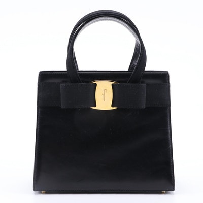 Salvatore Ferragamo Vera Bow Black Leather Satchel
