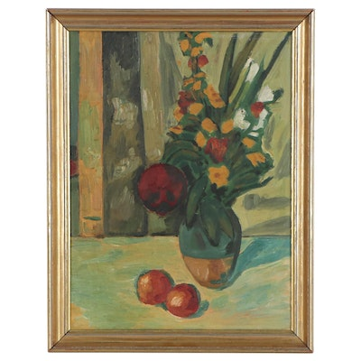 Floral Still Life Oil Painting, Early to Mid-20th Century