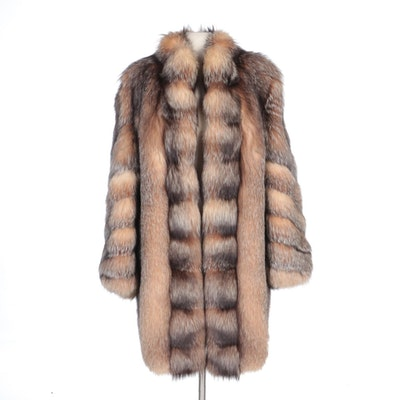 Full Skin Crystal Fox Fur Coat by Giba Noblia of Beverly Hills