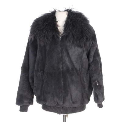 Sheared Dyed Beaver Fur Zip Jacket with Mongolian Lamb Fur Collar