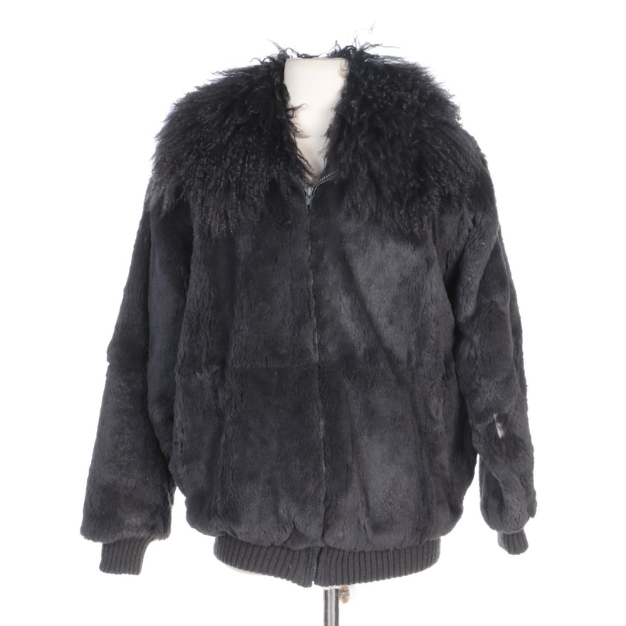Sheared Dyed Beaver Fur Zip Jacket with Mongolian Lamb Fur Collar