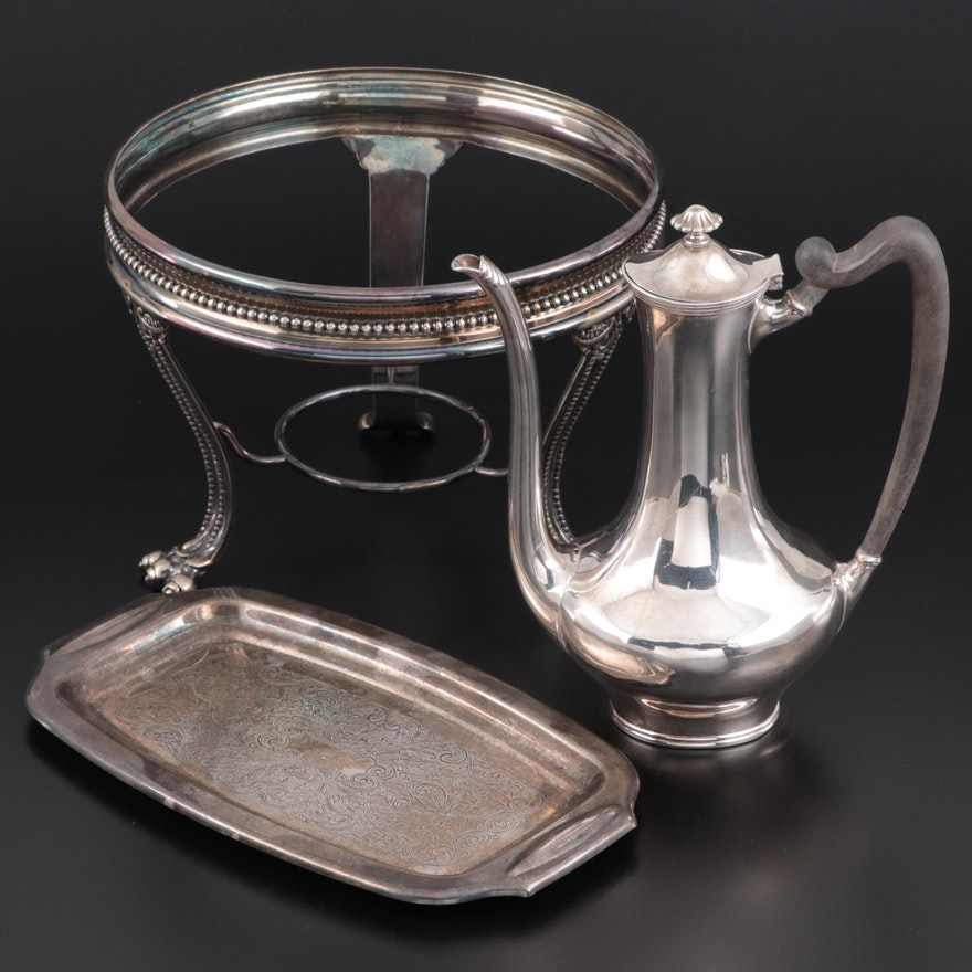 Towle Sterling Silver Teapot with Silver Plate Tray and Chaffing Stand