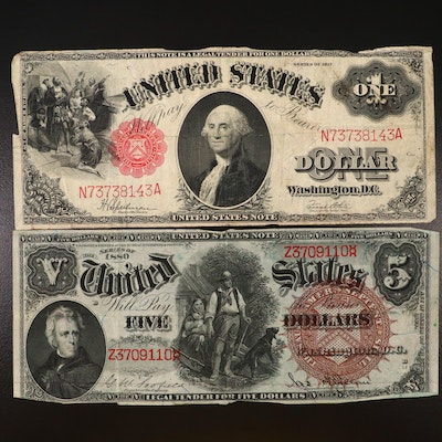 "Large Format Series 1917 $1 and Series 1880 ""Woodchopper"" $5 Legal Tender Notes"