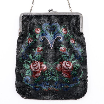 German Black Floral Rose Beaded Frame Purse with Kiss Lock and Chain Link Strap