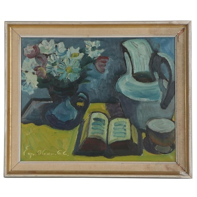 Eyvind Olesen Oil Painting of Flowers and Book Still Life, Mid-Late 20th Century