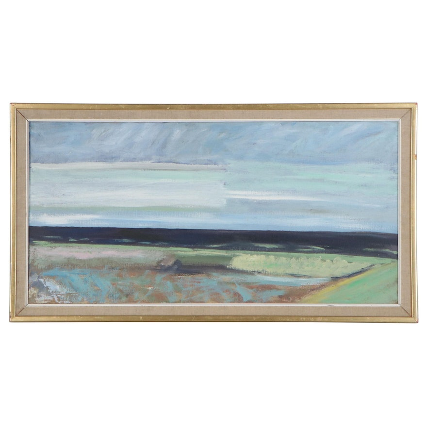 Svend Arne Engelund Abstract Landscape Oil Painting, Mid-20th Century