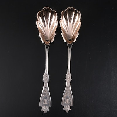 Harding & Co. Coin Silver Serving Spoons, Mid-19th Century