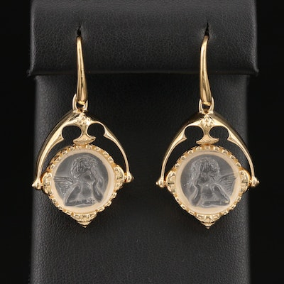 Sterling Silver Carved Glass Putti Dangle Earrings
