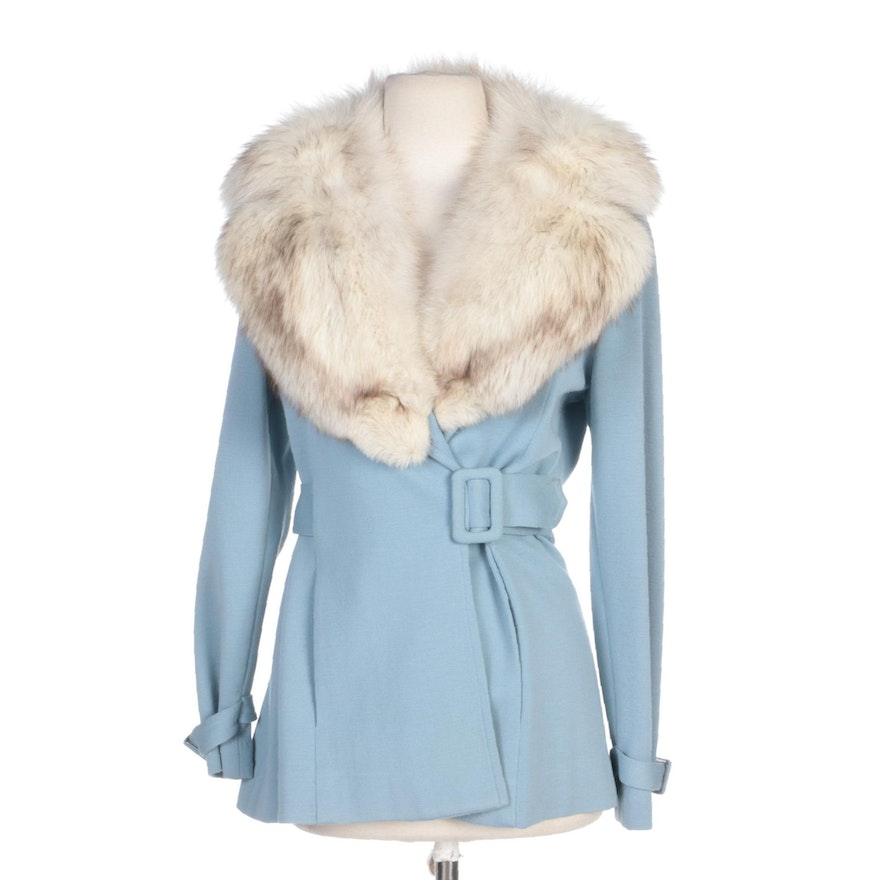 Colt Orient Corp. Blue Wool Knit Belted Jacket with Fox Fur Shawl Collar