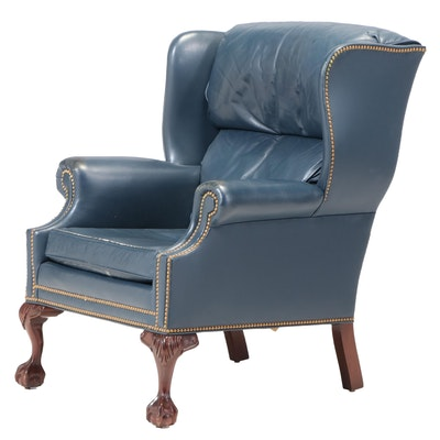 Hancock & Moore Chippendale Style Mahogany and Blue Leather Wingback Armchair