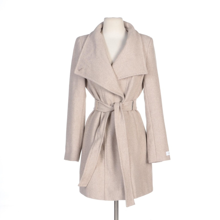 Calvin Klein Wool Blend Princess-Seamed Coat with Toggle Buttons