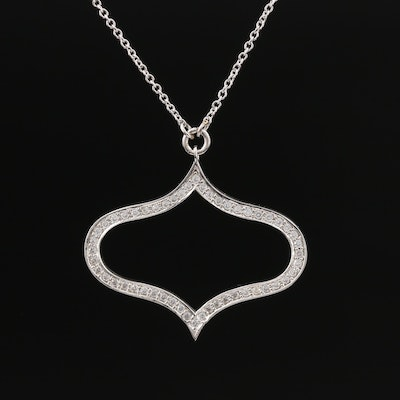 Sterling Silver Cubic Zirconia Moorish Style Necklace