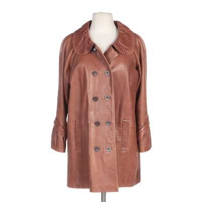 Tasha Polizzi Collection Double-Breasted Tan Leather Jacket with Top Stitching
