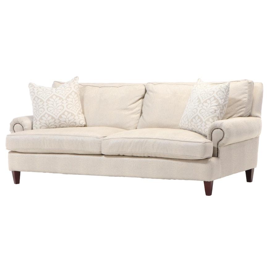 Simple Elegance Faux Crocodile Upholstered Sofa