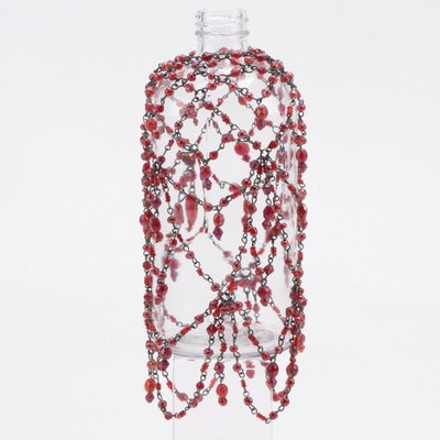 Ruby Red Glass Beaded Wine Bottle Cover