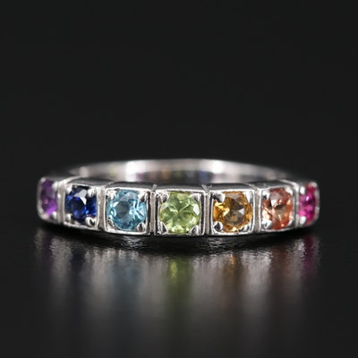 Sterling Band Including Ruby, Spinel and Topaz