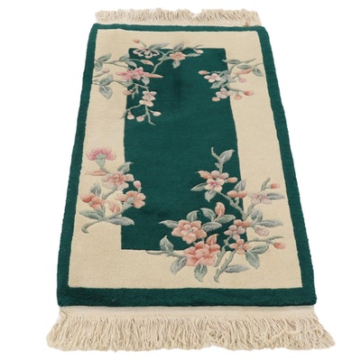 2'1 x 4'10 Hand-Knotted Chinese Floral Carved Pile Accent Rug