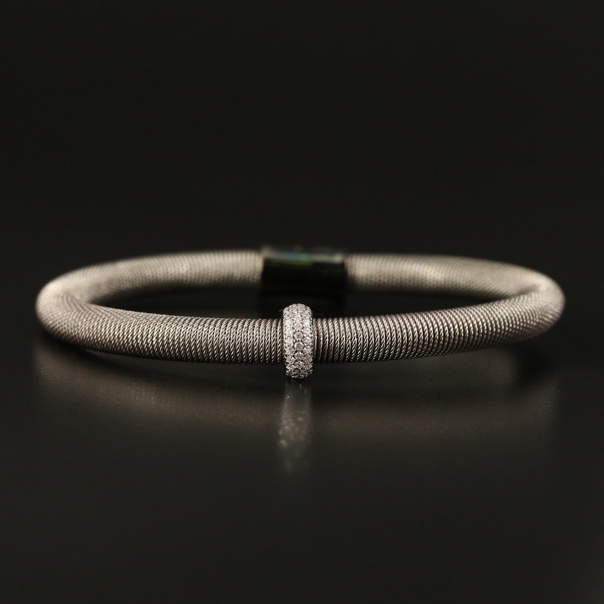 Sterling Wire Wrap Bracelet with Cubic Zirocnia Accent
