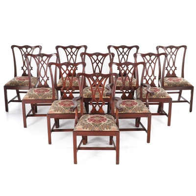 Set of Ten Henkel-Harris Chippendale Style Mahogany Dining Chairs
