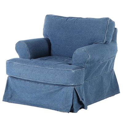 Lee Industries Inc. Denim-Slipcovered Easy Armchair
