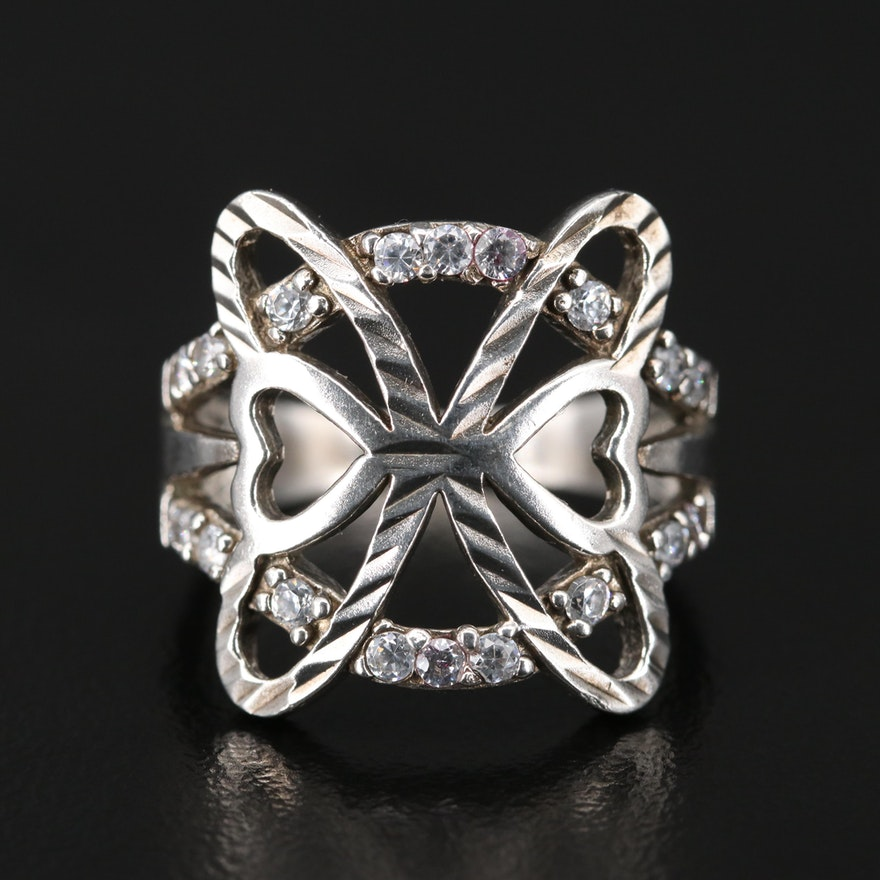 Sterling Cubic Zirconia Butterfly Ring
