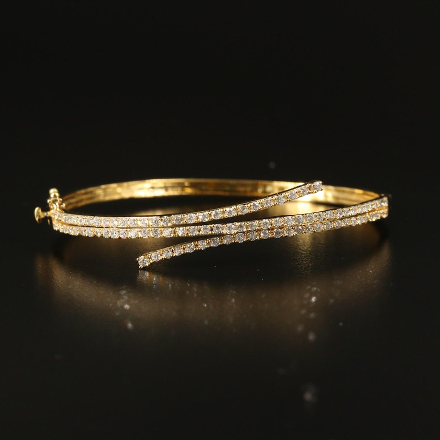 Sterling Cubic Zirconia Hinged Bangle