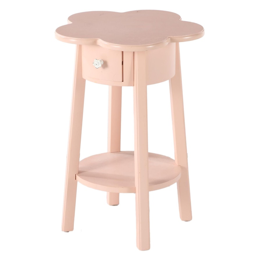 Pottery Barn Kids Pink-Painted Flower Side Table
