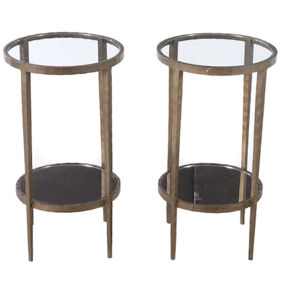 "Pair of Crate & Barrel ""Clairemont"" Patinated and Forged Steel Side Tables"