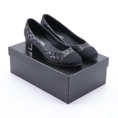 Chanel Black Quilted Lambskin Leather Pumps with Grosgrain Toe