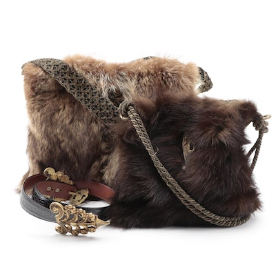Manuel Lopez Muskrat Fur Shoulder Bags and J. Hilburn Caiman Skin Belt