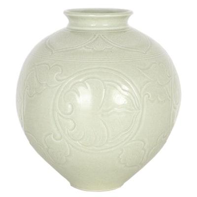 Lynda Katz Wheel-Thrown Celadon Porcelain Vase, 21st Century