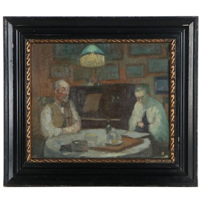 Impressionist Style Interior Scene Oil Painting, Early to Mid-20th Century
