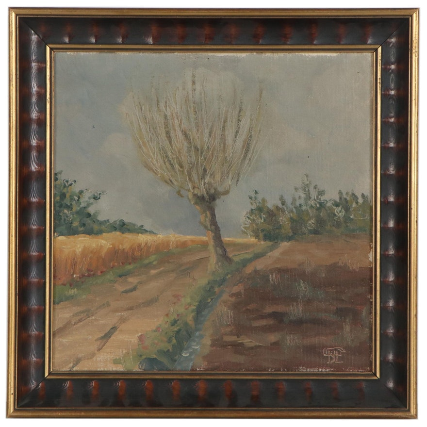 Oil Painting of Fruit Tree in Winter, Mid-20th Century