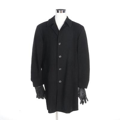 Men's Lauren Ralph Lauren Wool Cashmere Overcoat and Gates Leather Gloves